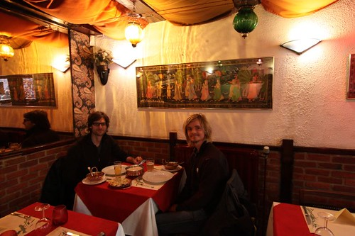 Pablo and I eating Indian in Brussels.