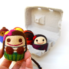Egg Girls from around the world (asherjasper) Tags: girls wool children toys dolls kawaii eggs multicultural eggbox needlefelted