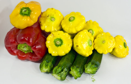 squash and peppers