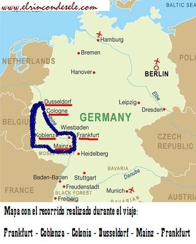 Mapa recorrido oeste alemania por ti.