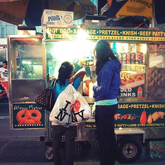 I LOVE NY Hot Dogs (antonkawasaki) Tags: nightshot streetphotography sausage nighttime squareformat timessquare kebab pretzel iphone hotdogstand knish colddrinks beefpatty twowomen 500x500 waitingforfood lambgyro iphoneography antonkawasaki ilovenyhotdogs iheartnyplasticbags alwayspretzel guyrunninginbackground