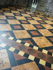 Tiled floor inside the Cathedral (Caitrona) Tags: camping wales stdavids