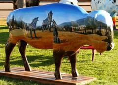 "Part of the ""Where the Painted Buffalo Roam"" exhibit, West Yellowstone, Montana (IMG_1581a) (Alaskan Dude) Tags: travel art buffalo montana wildlife westyellowstone paintedbuffalo wherethepaintedbuffaloroam"