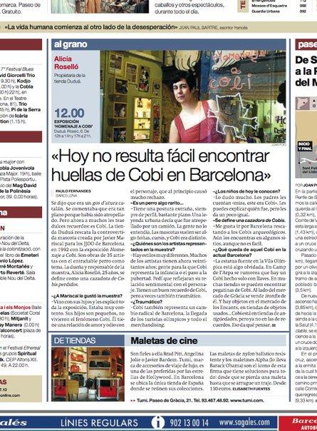 Entrevista en El Periódico por la expo homenaje a Cobi