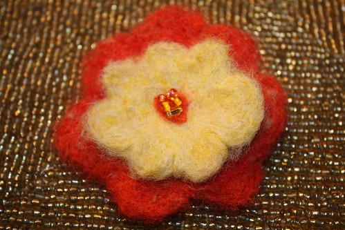 orange felted pin