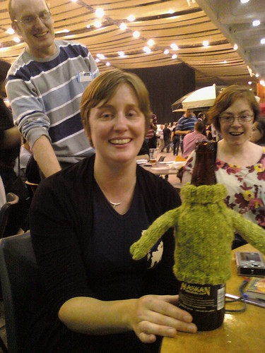 Laura & her knitted beer jumper!