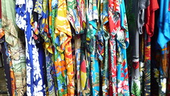 P1010181 (hello.vickibrown) Tags: summer colour bright market july fair shirts fabric fete hawaiian prints barnes stalls garish