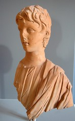 Young man with uncovered head (diffendale) Tags: italy sculpture ceramic italia child roman head terracotta relief c