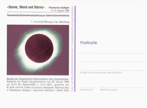 11 AOÛT 1999 / ECLIPSE TOTALE DU SOLEIL / CARTE POSTALE ALLEMANDE
