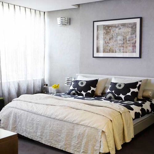 Ideas for the bedroom: Marimekko sheets + neutral walls & duvet