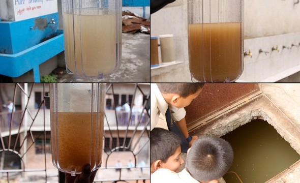 Source water at four of A Child's Right's school installation sites prior to filtration through A Child's Right systems