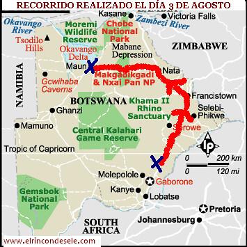 mapa recorrido sur africa dia 3 de agosto por ti.