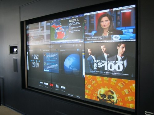 HP Touchscreen wall located in reception by Edelman Inc.