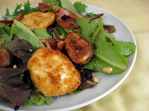 Baby Greens Salad with Roasted Figs, Bacon, and Warm Goat Cheese