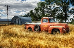 The Old Good Year Truck (Stuck in Customs) Tags: world county old travel west color abandoned field grass rural america truck landscape photography high nikon montana day dynamic dinosaur stuck northwest outdoor good farm year country hill north august growth pasture vehicle 2008 range dig hdr trey customs rudyard ratcliff d2xs stuckincustoms