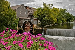 The Old Mill (LuAnn Hunt) Tags: mill canon river waterfall tn historic pigeonforge petunias xti mywinners