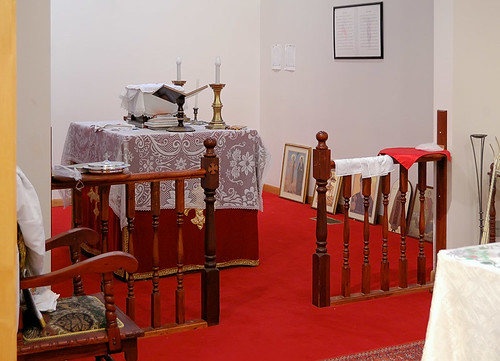 Saint Mary and Saint Abraam Coptic Orthodox Church, in Saint Louis County, Missouri, USA - men's communion rail and side-altar