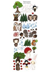 forest hunnies (the poppy tree) Tags: bear trees white tree rabbit bunny bunnies art love apple nature girl rain animals forest butterfly painting squirrel couple stickers balloon snail couples bee acorn fox poppy owl daisy ladybug critters hedgehog raindrop whimsical muchroom thepoppytree
