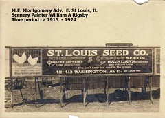 1915 St. Louis Seed Co., Montgomery Av. Billboard W A Rigsby Painter (carlylehold) Tags: street signs history robert saint sign st vintage advertising t louis illinois clothing model bravo seed bank william garland here billboard east mo anderson national missouri painter mens co billboards trucks grocery coal 1922 flour avenue stories 1915 lous supply happens keeper rigsby garlands maule hohlt haefner distemper fravels cereta carlylehold reifking huetts htatts kaminers robertchaefner