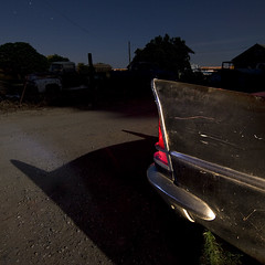 I'm Batman, Dammit! (Lost America) Tags: lightpainting abandoned night newyorker fullmoon 1957 junkyard chrysler nocturnes thebigm