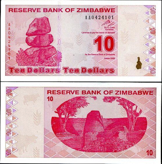 10 dolárov Zimbabwe 2009