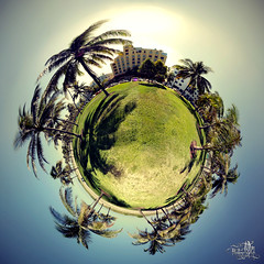 Miami South Beach Planet (t0m_ka) Tags: blue vacation sky panorama usa sun tree green art beach america globe 60s miami thomas south united urlaub himmel palm explore lensflare planet artdeco states grn blau amerika miamibeach deco sonne frontpage southbeach 1960 weltkugel palmen stereographic reimann stereographicprojection stereographischeprojektion thomasreimann