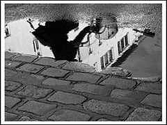 someone is crossing the street (sulamith.sallmann) Tags: bw berlin puddle effects deutschland natur waters sw reflexion spiegelung deu effekt xyz pftze effekte gewsser phototechnik vermischtes sulamithsallmann
