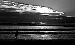 Night Runner (ronramstew) Tags: boy sea sky blackandwhite bw night clouds contrast high noiretblanc running morocco maroc 1970s bandw runner marruecos essaouira marokko sescape