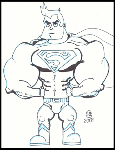 SupermanCartoonOutline