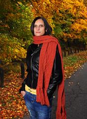 Barbi (Anett Budai) Tags: autumn portrait orange woman girl beauty female scarf nikon colorful colours jeans jacket barbi normafa d90 luxtop100
