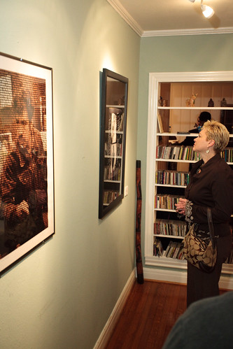 Melaney Linton viewing Chuy Benitez's tribute to Corky Gonzalez