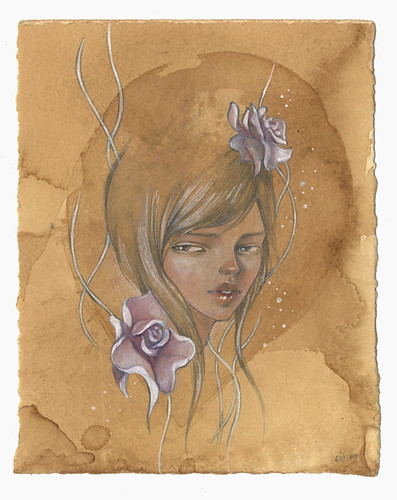 "Chandra. 6""x8"". Mixed Media (Graphite, Watercolor & Acrylic) on Tea-stained Paper. ©2009."