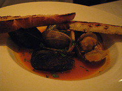 Mussels and clams in (red) sauce