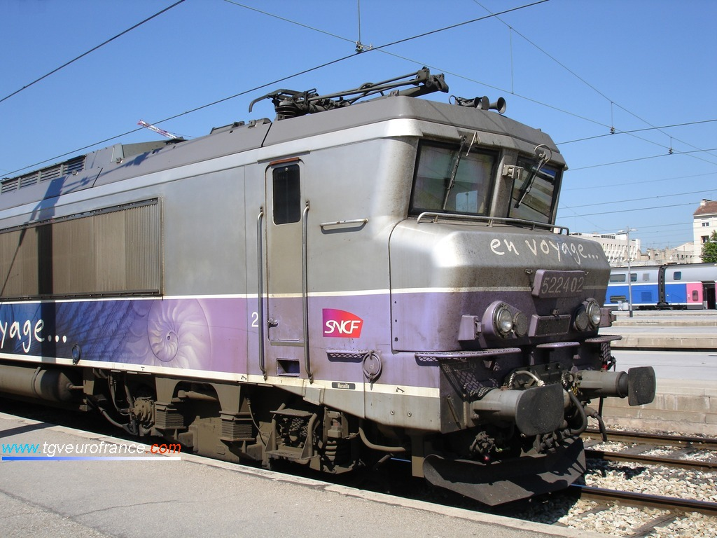 "The BB 22402 SNCF locomotive with the ""En voyage"" livery at Marseille Saint-Charles station"