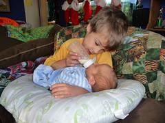 Xavier feeds Rowan