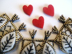 Zipper owl feet (woolly  fabulous) Tags: white wool leaf pin heart recycled brooch felt owl zipper newbirds embroisered