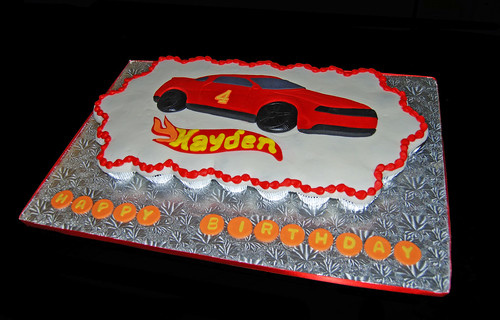Race Car 4th Birthday Cupcake Cake for a Hot Wheels Themed Party