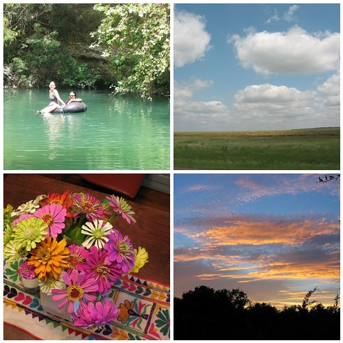 A Texas Summer is Swimming holes, Beautiful Skies and Zinnias from my garden!