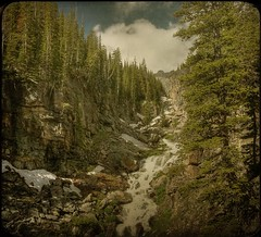 Loch Lake Falls (jssteak) Tags: trees shadow sky snow mountains water clouds forest square colorado canyon waterfalls gorge rockymountainnationalpark fauxvintage squareformate lochlake goldstaraward texturedsquare bouldger