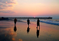 A Walk To Remember (ndeniably  tin) Tags: ocean pink sea men nature clouds sunrise myrtlebeach pier waves southcarolina guys platinumheartaward
