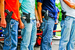 Open Carry Picnic (Photoshoparama - Dan) Tags: dsc7973 opencarry michigan secondamendment freedom firearms pistols pistolas america danielejohnson johnsongraphics crossroadonecom photoshoparama handguns holsters serpaholsters denim bluejeans