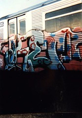 KET train, NYC, 1993 (KET ONE) Tags: nyc newyorkcity train graffiti pieces drawing ket alanket