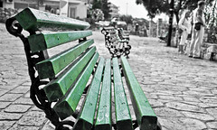 Green (not HDR) (Faddoush) Tags: green bench nikon bokeh earth hellas greece environment colouring selective afitos hbw faddoush