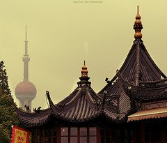 Shanghai Skyline (ShanLuPhoto) Tags: china city skyline temple downtown shanghai   mixture urbanization pastandpresent  westernized theorientalpearltower loolooimage