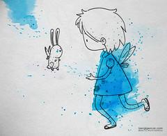ekolin sektirme (bengi gencer) Tags: blue bunny illustration angel fly wings deamon linedrawing ecoline shorthairgirl bengigencer