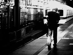 15/365: Shimokitazawan Angel (joyjwaller) Tags: boy blackandwhite japan angel night train japanese tokyo halo transit defeat shimokitazawa trainstations project365