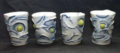 orb cups (JuliesAtelier) Tags: texture ceramics cups clay pottery porcelain wheelthrown underglaze