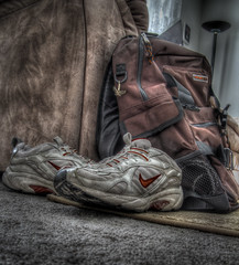 """Yay, Early Day!"" (sumoetx) Tags: stilllife closeup photoshop canon sneakers nike backpack hdr backtoschool photomatix utahphotographer interiorhdr chdk powershota720is weekendassignmentandcontest"