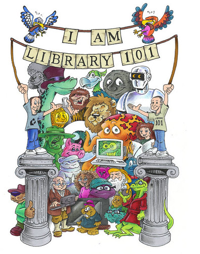 """Library 101"" Cartoon Shirt Design"