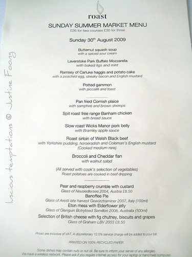 Menu - Roast, Borough